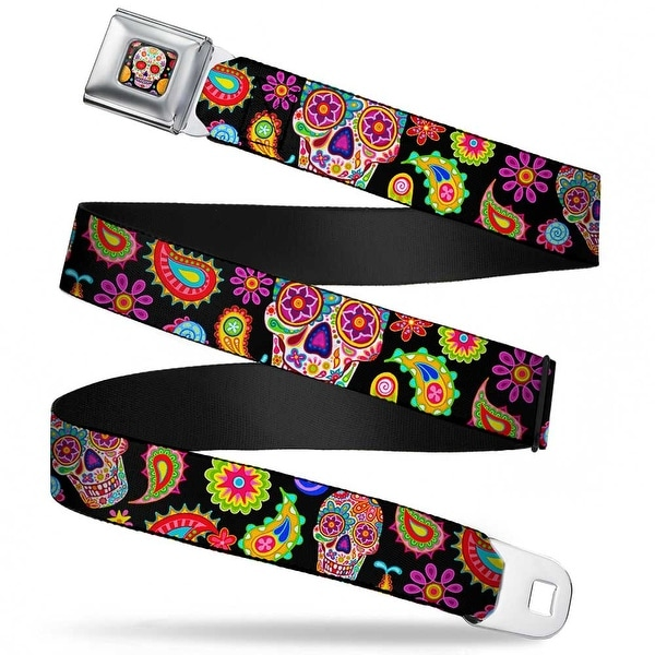 Sugar Skull Starburst Full Color Black Multi Color Bobo Sugar Skull Paisley Seatbelt Belt
