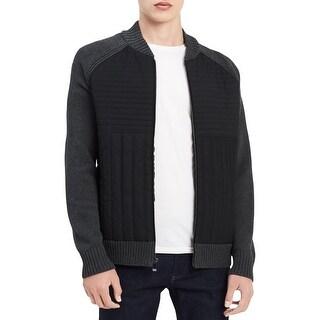 Calvin Klein Mens Full Zip Sweater Mixed Media Long Sleeves - M