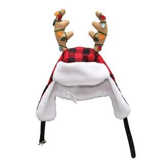 16 Adjustable Red and Black Plaid Christmas Hat with Sherpa Ear Flaps and Antlers