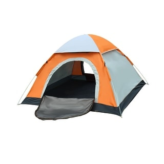 Backpacking Sun Shelter Water Resistant Automatic Camping Tent 3-4 Person Orange