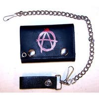 Anarchy Trifold Motorcycle Biker Wallet Chain Anarch