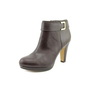 Giani Bernini Netty Women Round Toe Leather Brown Ankle Boot