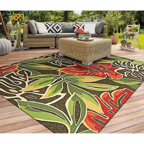 Miami Palms Brown-Deep Green Indoor/ Outdoor Area Rug