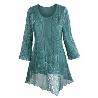Women's Tunic Top - Lacey Layers Of Teal Asymmetrical Cotton Blouse|https://ak1.ostkcdn.com/images/products/is/images/direct/d4df050e22f915ff4d0a23e77a360b05b74e1eef/Women%27s-Tunic-Top---Lacey-Layers-Of-Teal-Asymmetrical-Cotton-Blouse.jpg?impolicy=medium