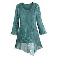 Women's Tunic Top - Lacey Layers Of Teal Asymmetrical Cotton Blouse