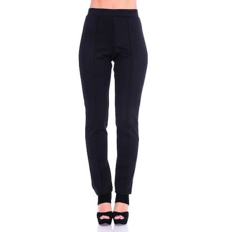 Simply Ravishing Women's Solid Stretch Straight Leg Slim Fit Pants