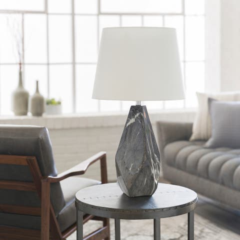 Iltheos Table Lamp with Grey Base and White Shade