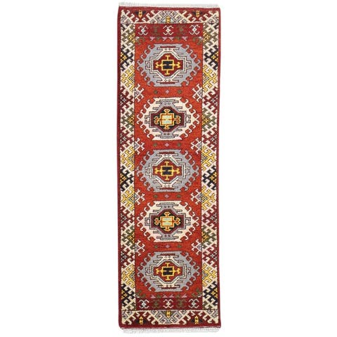 One of a Kind Hand-Knotted Persian 8' Runner Oriental Wool Red Rug - 2' x 7'