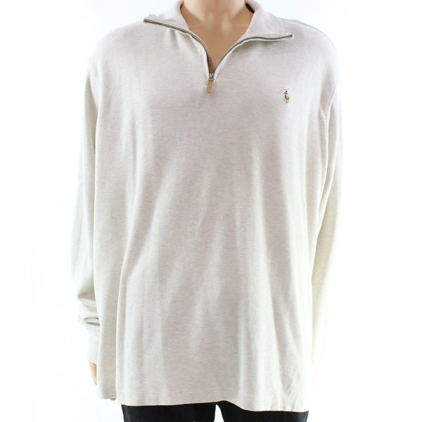 cb45a62ea Shop Polo Ralph Lauren NEW Beige Mens Large L Quarter Zip Estate Rib  Sweater - Free Shipping Today - Overstock - 18656478