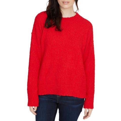 Sanctuary Womens Crewneck Sweater Texured Teddy
