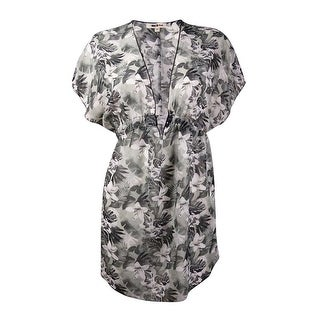 Miken Women's Tropical Floral V-Neck Chiffon Swim Cover - Grey/white (Option: M)