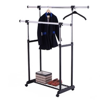 Costway Double Rail Rolling Garment Rack Adjustable Clothes Drying Hanger Laundry Rack