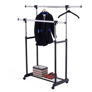 Costway Double Rail Rolling Garment Rack Adjustable Clothes Drying Hanger Laundry Rack - as pic