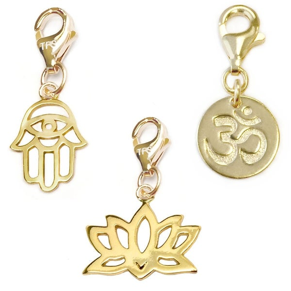Julieta Jewelry Lotus, Hamsa Hand, Om 14k Gold Over Sterling Silver Clip-On Charm Set
