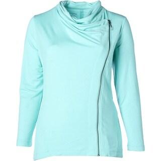 Marika Curves Womens Plus Kate Athletic Jacket Asymmetric Long Sleeves