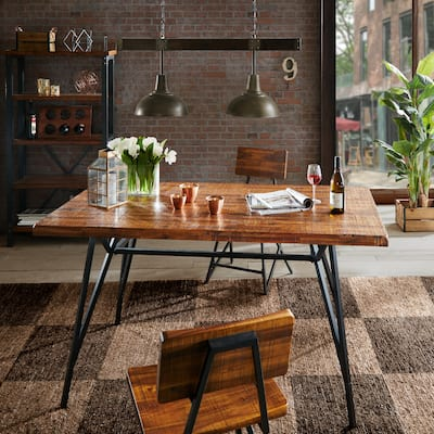 INK+IVY Reclaimed Brown Wood Gunmetal Trestle Dining Table