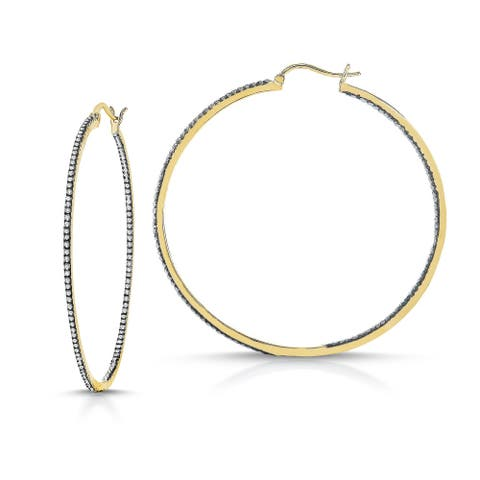 Collette Z Gold and Black Plated Clear Cubic Zirconia Hoop Earrings