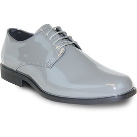 VANGELO Men Dress Shoe TUX-1 Oxford Formal Tuxedo for Prom & Wedding Shoe Grey Patent -Wide Width Available