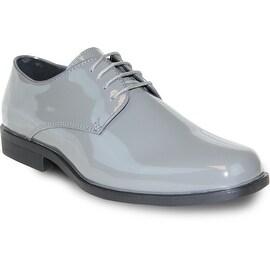 VANGELO Men Dress Shoe TUX-1 Oxford Formal Tuxedo for Prom & Wedding Shoe Grey Patent -Wide Width Available