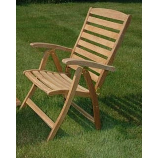 "43"" Natural Teak Outdoor Patio Portsmouth Folding Reclining Chair"