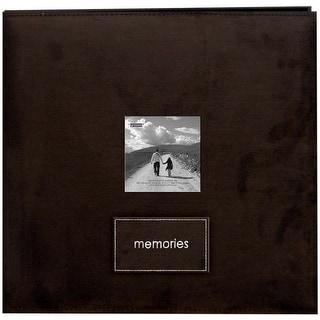 """Pioneer Embroidered Faxu Suede Post Bound Album 12""""X12""""-Dark Brown"""