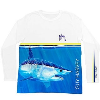 Guy Harvey Mens Mako Stripe Long Sleeve Performance Shirt