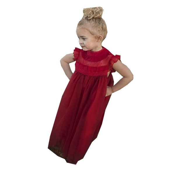 f2f10d5a1dd3 Shop Little Girls Scarlett Red Lace Tulle Smock Magnolia Christmas Dress -  Free Shipping On Orders Over $45 - Overstock - 25542895
