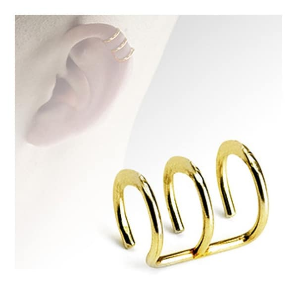Gold Plated Surgical Steel Fake Cartilage 'Clip-On' Triple Closure Ring (Sold Ind.)