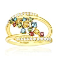 0.85 TCW Round Cut Multi Color Diamond with Natural G-H/SI1 Diamond Fancy Ring - White G-H