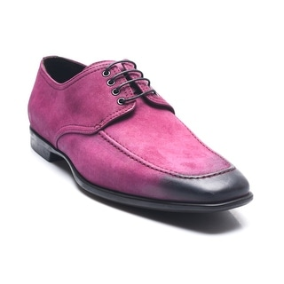 Bruno Magli Men's Leather Suede Punayo Lace-up Oxford Shoes Magenta Black