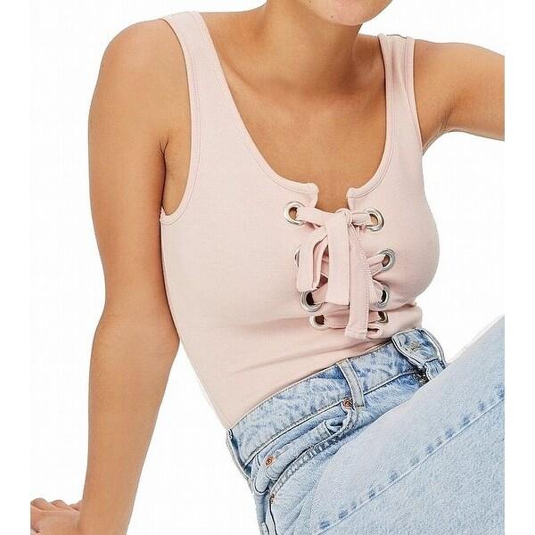 d0cf723ea Shop TopShop Pink Rose Women s Size 8 Tank Lace Up Bodysuit Knit Top ...