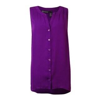 INC International Concepts Women's Mix-Media Sleeveless Top - purple paradise - s