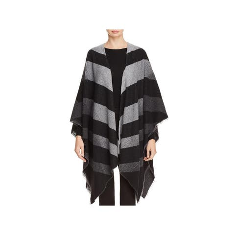 Eileen Fisher Womens Poncho Wool Blend Striped - Ash - O/S
