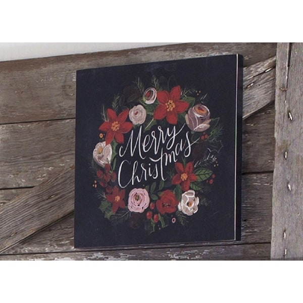 """14"""" Red, Green and Black """"Merry Christmas"""" Floral Holiday Wall Art"""