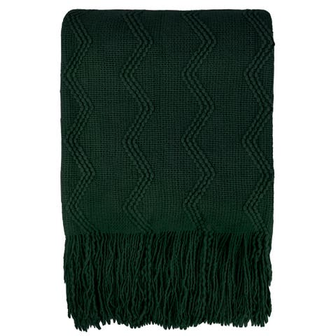 Acrylic Knitted Blanket with Fringe Throw Green