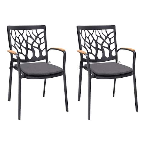 Aluminum Dining Chair with Cut Out Back, Set of 2, Black