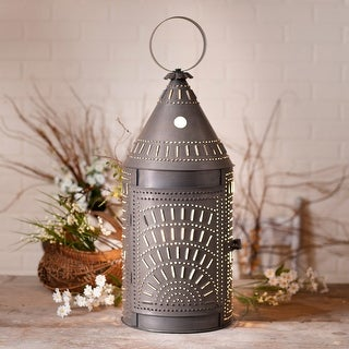 Irvin's Country Tinware 27-Inch Blacksmith's Lantern with Chisel Blackened Tin