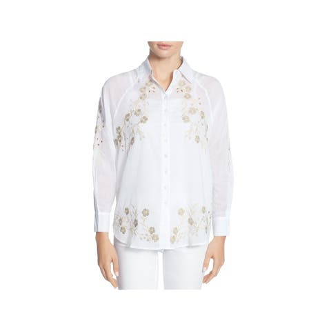 CATHERINE CATHERINE MALANDRINO Womens Renzo Button-Down Top Sheer Embroidered