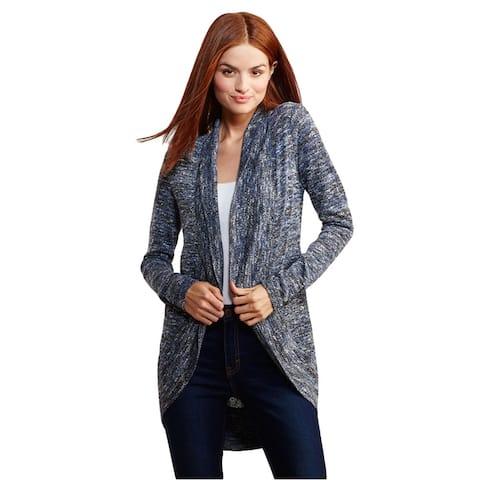 Aeropostale Womens Marled Open Cardigan Sweater, Blue, X-Small