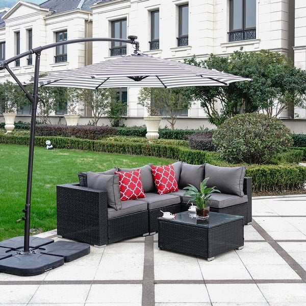 Luxton 5-Piece Sectional Patio Conversation Set with Cushions. Opens flyout.