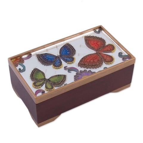 "Handmade Butterfly Reflection Reverse-Painted Glass Decorative Box (Peru) - 2.4"" H x 6.25"" W x 3.5"" D"