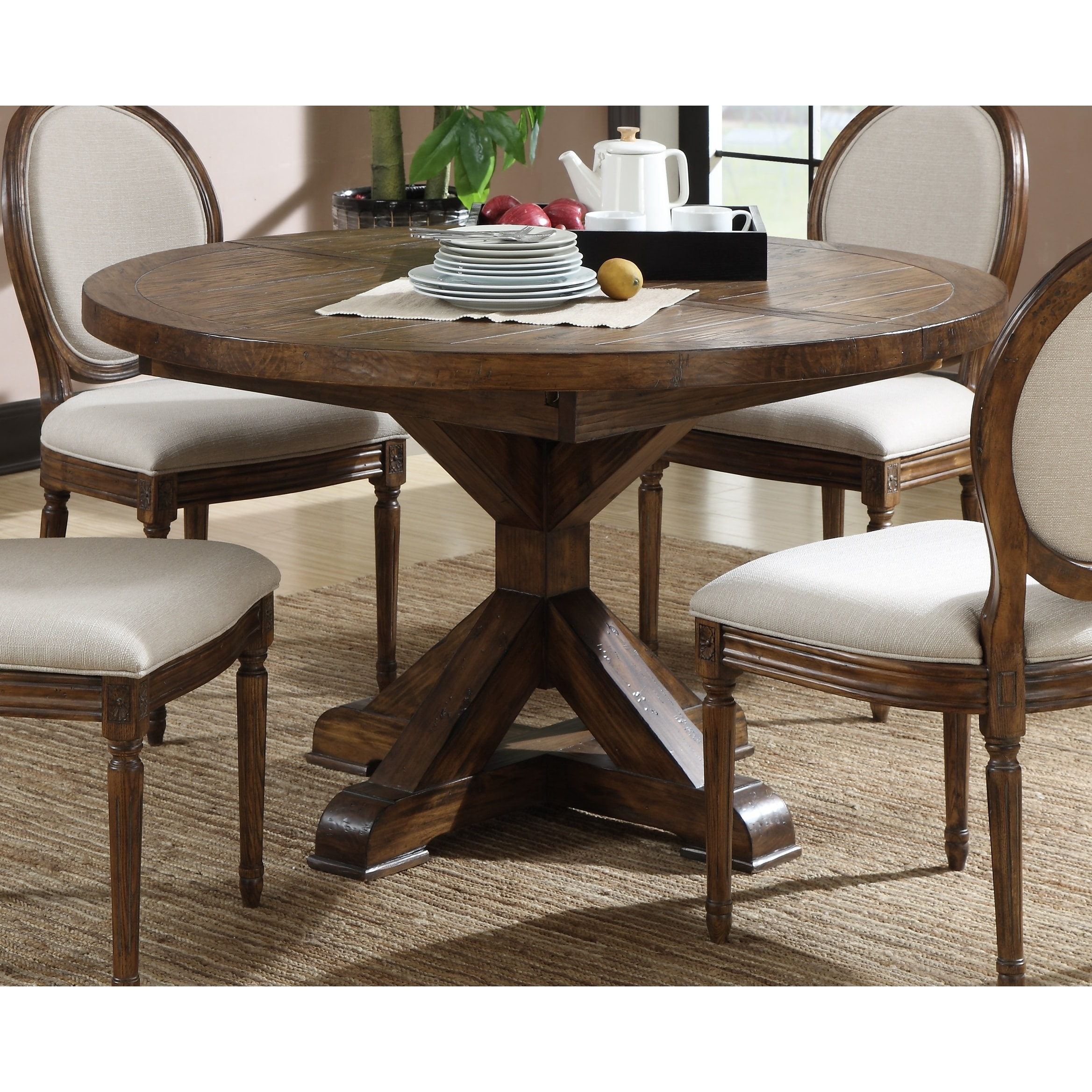 Shop The Gray Barn Misty Day Dark Pine 54 Inch Round Dining Table Overstock 9358892