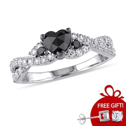 Miadora Sterling Silver Created White Sapphire 3/5ct TDW Black Diamond Crossover Heart Ring