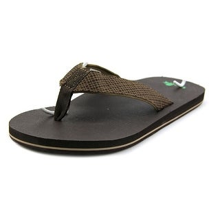 Sanuk Off The Grid Men  Open Toe Canvas Brown Flip Flop Sandal