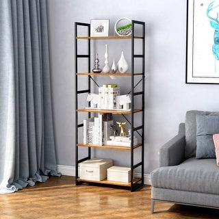 LANGRIA 5-Tier Bookshelf Organizer with Resistant Black Metal Frame and Sturdy Multifunctional Antique Wood Design