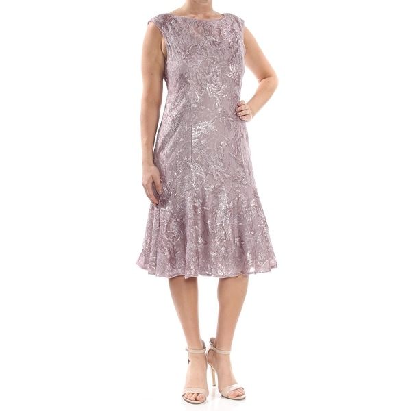 f3c864a3121c35 Shop ADRIANNA PAPELL Womens Purple Sequined Lace Trumpet Midi Prom Dress  Size: 12 - Free Shipping Today - Overstock - 28373494