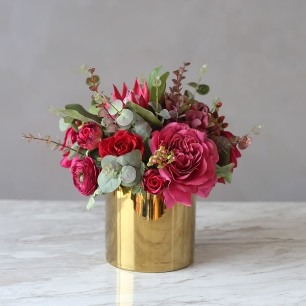 "FloralGoods Red Pink Rose Protea Mixed Flower and Greenery in Metal Gold Vase 14"" Tall"