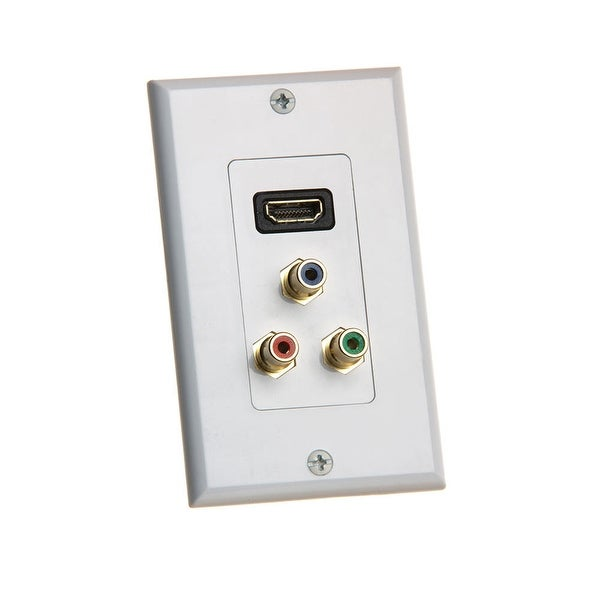 Single-Gang HDMI Wall Plate With Component Video 3-RCA Jacks