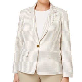 Calvin Klein NEW Beige White Women's Size 18W Plus Striped Blazer