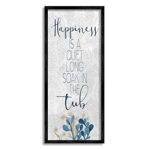 Stupell Industries Happiness is Long Soak in Tub Phrase Blue Coral Framed Wall Art